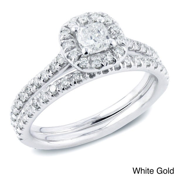 Auriya 14k Gold 1ct TDW Certified Cushion Diamond Halo Bridal Ring Set