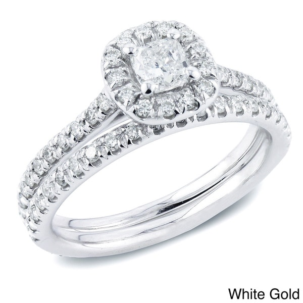 Auriya 14k Gold 1ct TDW Certified Cushion-Cut Diamond Halo Engagement Ring Set