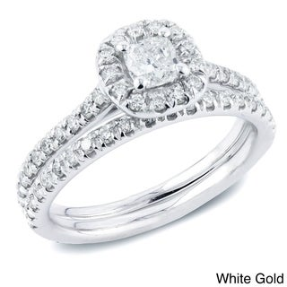 Auriya 14k Gold 1ct TDW Certified Cushion Diamond Halo Bridal Ring Set (H-I, SI1-SI2)
