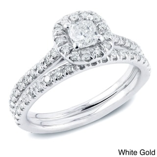 Auriya 14k Gold 1ct TDW Certified Cushion-Cut Diamond Halo Engagement Ring Bridal Set