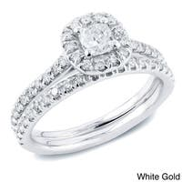 Auriya 14k Gold 1ct TDW Certified Cushion-Cut Diamond Halo Engagement Ring Set