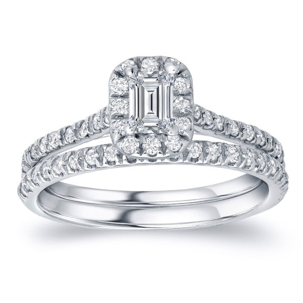 Auriya 14k Gold 1ct TDW Certified Emerald-Cut Diamond Halo Engagement Ring Set