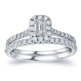 Auriya 14k Gold 1ct TDW Certified Emerald Diamond Halo Bridal Ring Set (H-I, SI1-SI2)