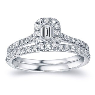 14k Gold 1ct TDW Certified Emerald-Cut Diamond Halo Engagement Ring Set by Auriya