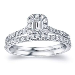 Auriya 14k Gold 1 carat TW Emerald-cut Halo Diamond Engagement Ring Set