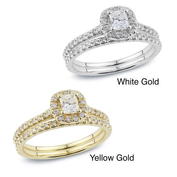 Auriya 14k Gold 1ct TDW Radiant Cut Diamond Bridal Ring Set (H-I, SI1-SI2)