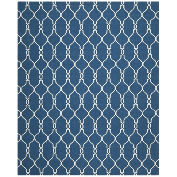 Safavieh Moroccan Blue And Black Area Rug: Safavieh Handwoven Moroccan Reversible Dhurrie Dark Blue