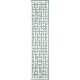 Safavieh Hand-woven Moroccan Reversible Dhurrie Seafoam Blue Wool Rug (2'6 x 10')