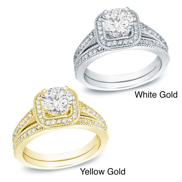 Auriya 14k Gold 1ct TDW Certified Diamond Bridal Ring Set
