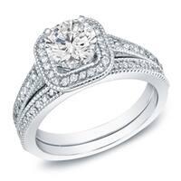 Auriya 14k Gold 1ct TDW Vintage Inpsired Certified Round Diamond Halo Engagement Ring Set