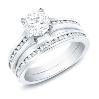Auriya 14k Gold 1ct TDW Certified Diamond Bridal Ring Set (H-I, SI1-SI2)