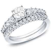 14k Gold 1ct TDW Certified Round Side Stone Diamond Engagement Ring Set by Auriya