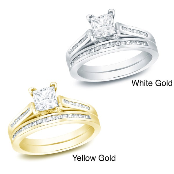 Auriya 14k Gold 1 1/2ct TDW Certified Princess Diamond Bridal Ring Set