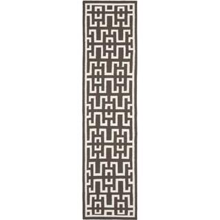 Safavieh Hand-woven Moroccan Reversible Dhurrie Chocolate Brown Wool Rug (2'6 x 10')