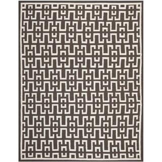 Safavieh Handwoven Moroccan Reversible Dhurrie Traditional Chocolate-Brown Wool Rug (5' x 8')