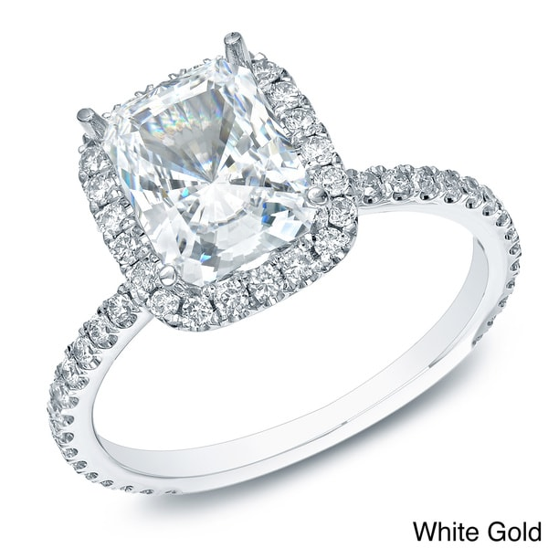 Auriya 14k Gold 1 1/2ct TDW Certified Cushion Diamond Engagement Ring (H-I, SI1-SI2)