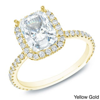 Auriya 14k Gold 1 1/2ct TDW Certified Cushion Diamond Engagement Ring (H-I, SI1-SI2)