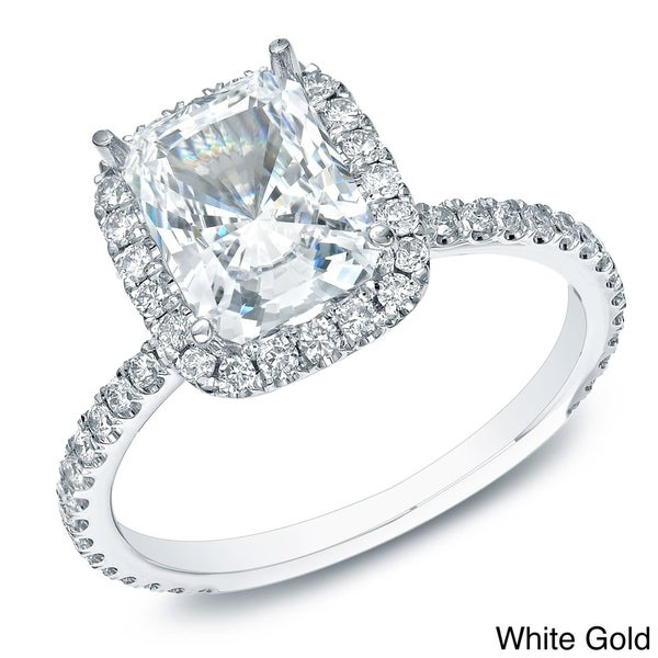 Auriya 14k Gold Certified 1 1 2ct TDW Cushion cut Diamond Halo Engagement Rin
