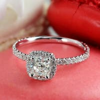 Auriya 14k Gold 1 1/2ct TDW Certified Cushion-Cut Halo Diamond Engagement Ring