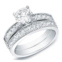 Auriya 14k Gold 2ct TDW Vintage Inspired Round Certified Diamond Engagement Ring Set
