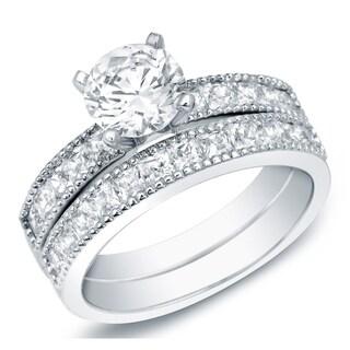 Auriya 14k Gold 2ct TDW Certified Vintage Round Diamond Engagement Ring Bridal Set