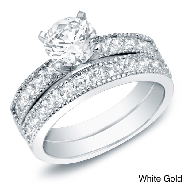 Auriya 14k Gold 2ct TDW Certified Diamond Bridal Ring Set