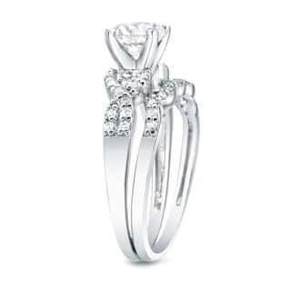 Auriya 14k Gold 1ct TDW Certified Diamond Braided Bridal Ring Set (H-I, SI1-SI2)