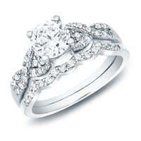 Auriya 14k Gold 1ct TDW Certified Diamond Twist Engagement Ring Bridal Set