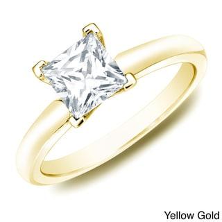 Auriya 14k Gold 1ct TDW Certified Princess Diamond Solitaire Ring (H-I, SI1-SI2)