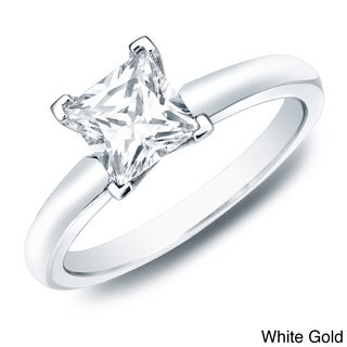 Auriya 14k Gold 1ct TDW Certified Princess-Cut Diamond Solitaire Engagement Ring