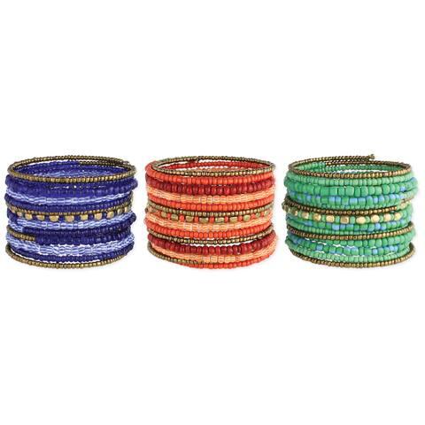 Handmade Goldtone and Striped Glass Beads Coil Bracelet (India)