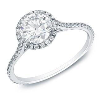 Auriya 14k Gold 1 1 2 Carat TW Round Halo Diamond Engagement Ring