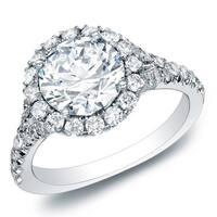 Auriya 14k Gold 1 1/2ct TDW Certified Round Halo Diamond Engagement Ring