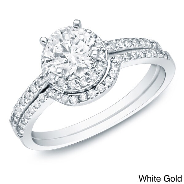 Auriya 14k Gold 1ct TDW Diamond Bridal Ring Set