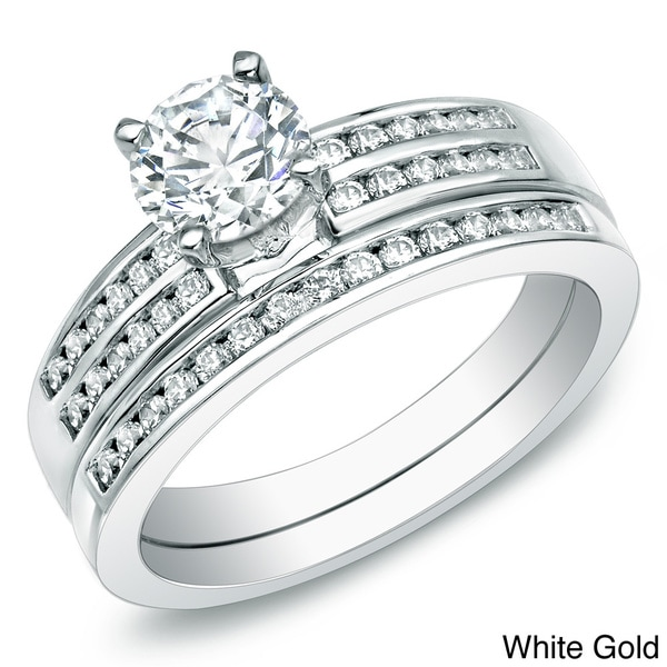 Auriya 14k Gold 1ct TDW Certified Diamond Bridal Ring Set