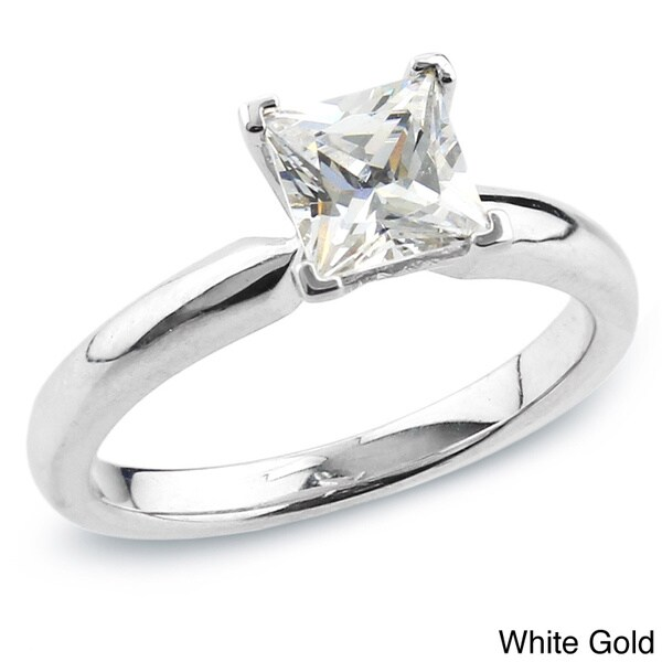 Auriya 14k Gold 3/4ct TDW Certified Princess-cut Diamond Solitaire Engagement Ring