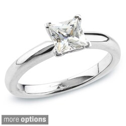 Auriya 14k Gold 1/2ct TDW Certified Princess-Cut Diamond Solitaire Engagement Ring