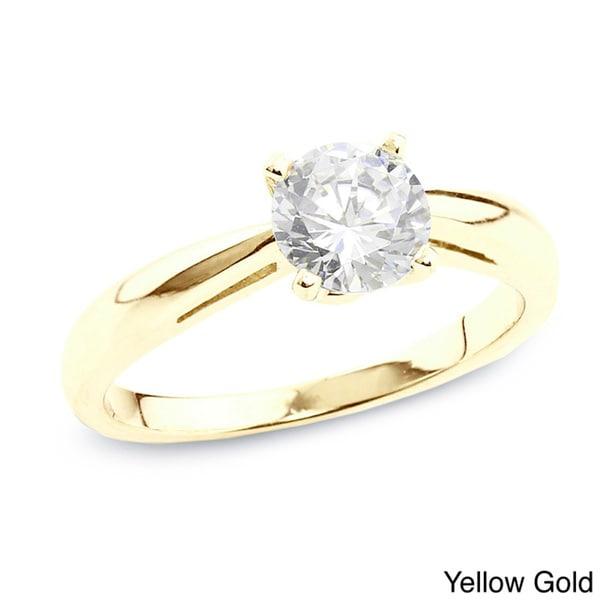Auriya 14k Gold 1/2ct TDW Certified Round Diamond Solitaire Ring