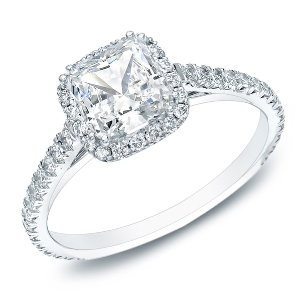 Auriya 14k Gold 1 1 2ct TDW Certified Cushion Cut Diamond Halo Engagement Rin