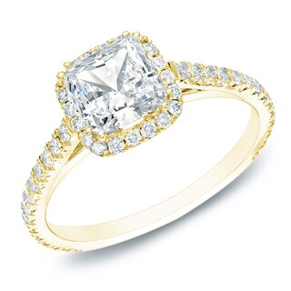 Auriya 14k Gold 1 1/2ct TDW Certified Cushion Diamond Halo Engagement Ring (H-I, SI1-SI2)