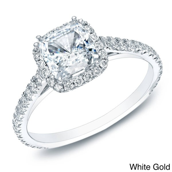 Auriya 14k Gold 1 1/2ct TDW Certified Cushion-Cut Diamond Halo Engagement Ring