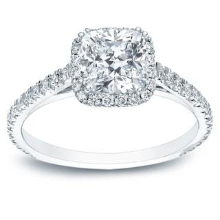 Auriya 14k Gold 1 1 2ct TDW Certified Cushion Cut Halo Diamond Engagement Ring