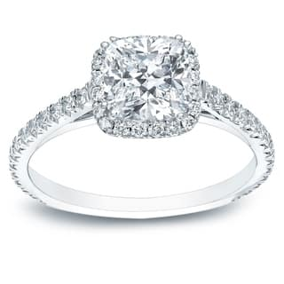 Auriya 14k Gold 1 1/2ct TDW Certified Cushion-Cut Halo Diamond Engagement Ring