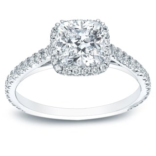 Auriya 14k Gold Certified  1 1/2ct TDW Cushion-Cut Diamond Halo Engagement Ring