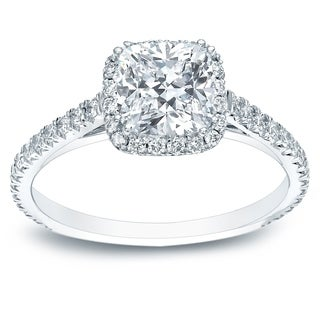 Auriya 14k Gold 1 1/2ct TDW Certified Cushion-Cut Diamond Halo Engagement Ring - White H-I