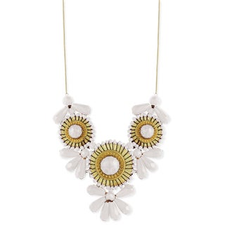 Handmade White and Gold Glass Beads Mini Medallion Necklace (India)