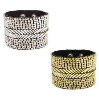 Handmade Beaded Black Fabric Cuff Bracelet (India)