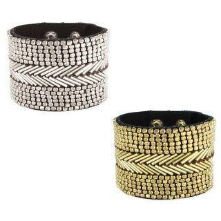 Link to Handmade Beaded Black Fabric Cuff Bracelet (India) Similar Items in Bracelets