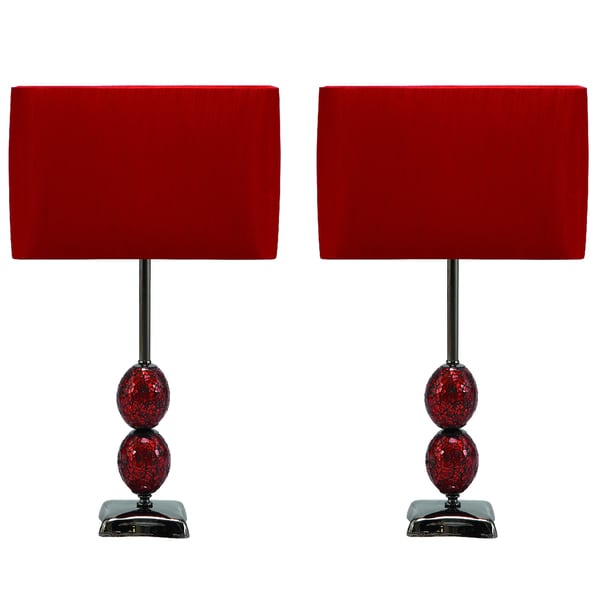 casa cortes red lumina 25 inch table lamp set of 2 free shipping. Black Bedroom Furniture Sets. Home Design Ideas
