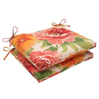 Pillow Perfect Primro Polyester Orange Square Outdoor Seat Cushions (Set of 2)